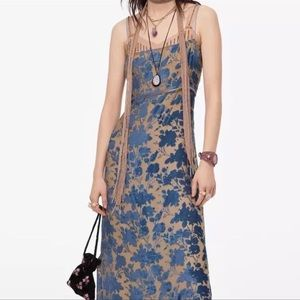 Boho Blue+Beige Velvet Inlay Adjustable Midi Dress